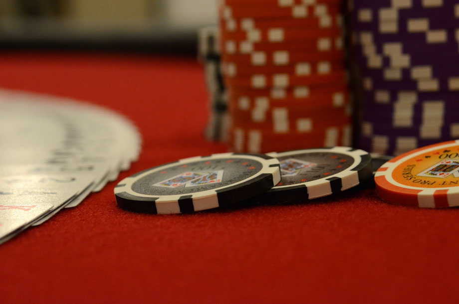 Poker table chips close up