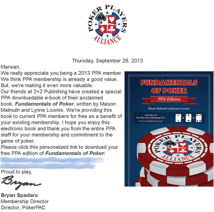 PPA fundamentals of poker free book email