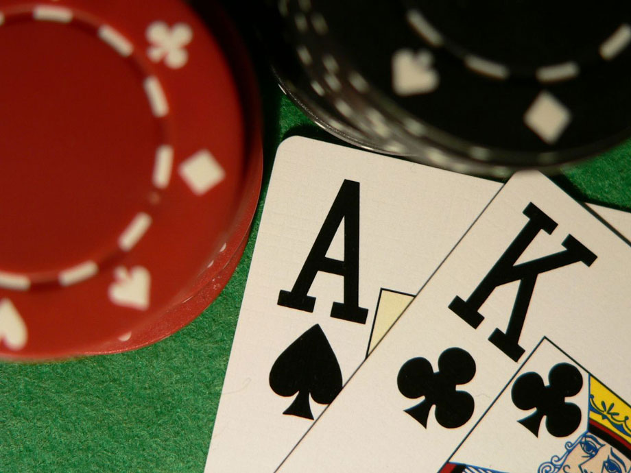 Ace king close up with poker chips