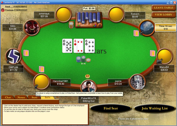 PokerStars mobile icon at the tables