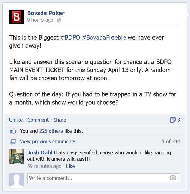 Get Bovada BDPO $450 Main Event Ticket For Free Just For